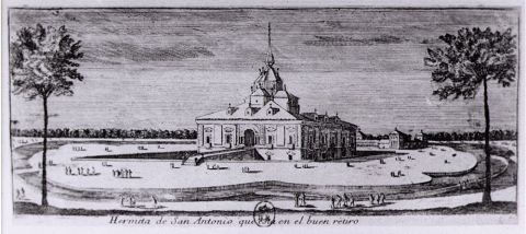 Fig. 26 : Louis Meunier, « Hermita de San Antonio que esta en el buen retiro », estampe. Paris, Bibliothèque nationale de France, département des Estampes et de la photographie, Ed 77, f. 3.