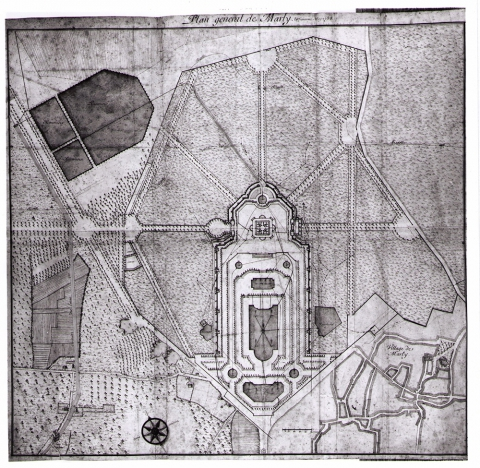 Fig. 34 : Anonyme, « Plan general de Marly le dixièsme May 1685 », 1685, dessin. Paris, Bibliothèque nationale de France, département des Estampes et de la photographie, Va 448d-f. 6.