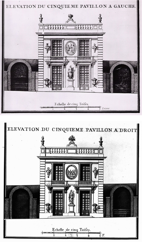 Fig. 36 : Anonyme, Élévations des cinquièmes pavillons de Marly. Paris, Bibliothèque nationale de France, Va 78, t. 4.