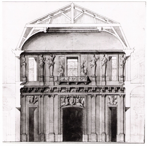Fig. 7 : Projet de décor pour le Salon central du Pavillon royal de Marly. Stockholm, Nationalmuseum, CC 121 [notice complète].