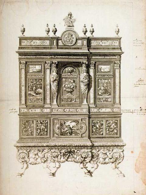 Fig.10: Cabinet «au singe», après 1683, estampe. Versailles, musée national des châteaux de Versailles et de Trianon, MV9614.