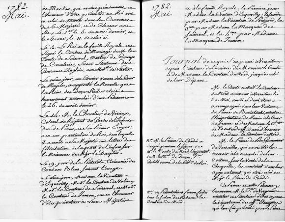 Fig.1: «Journal de ce qui s'est passé à Versailles depuis l'instant de l'arrivée de Monsieur le comte et de Madame la comtesse du Nord, jusqu'à celui de leur départ». Paris, Archives nationales, O1824, fo80ro (droite).