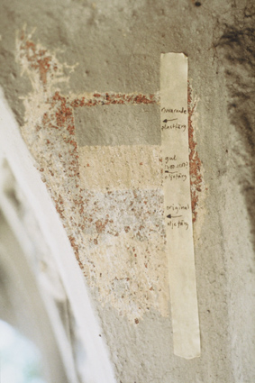 Fig. 1 Different paint layers on the cornice of Drottningholm Palace