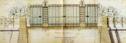 Fig. 15 : La grille de la cour d'honneur du Grand Trianon, agence Jules Hardouin-Mansart. Paris, Archives nationales.