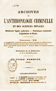 Archives de l'anthropologie criminelle