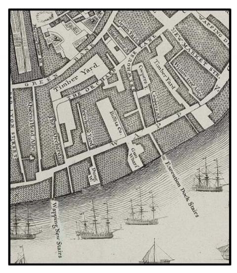 Fig. 1: John Rocque's map of London (1746) showing the location of Execution Dock Stairs at Wapping