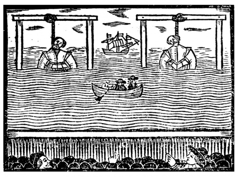 Fig. 3: Thomas Heywood's A true relation, of the lives and deaths of two most famous English pyrats, Purser, and Clinton (1639). Woodcut showing their execution at Wapping in 1583.