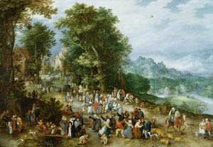 Fig. 2: Jan Brueghel, A festival with dancing peasants and other figures on a country road