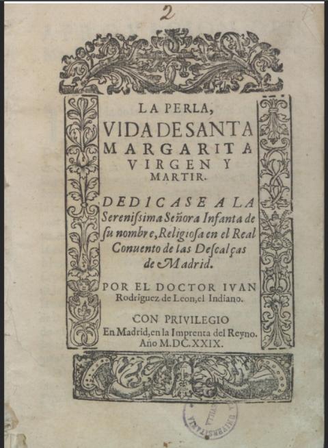 f4b2db8aa11d Portada de La Perla. Vida de santa Margarita virgen y mártir