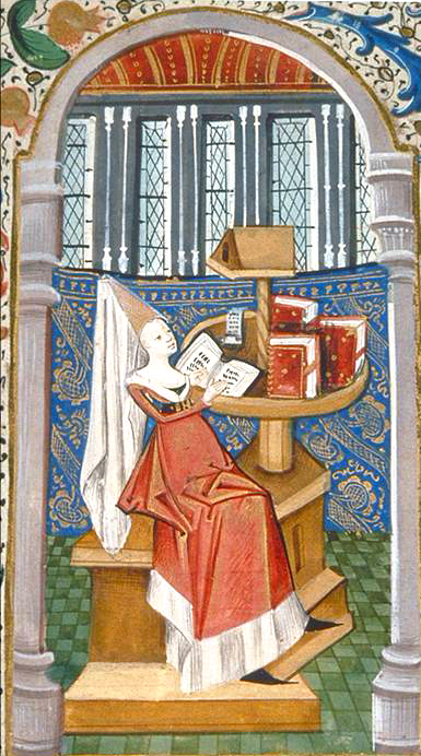 Fig. 12. Christine reading in her study