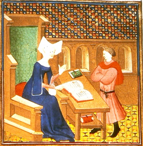 Fig. 13. Christine instructs her son in her study