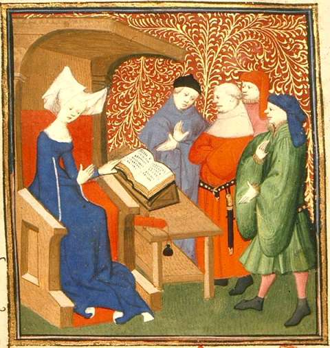 Fig. 14. Christine instructs four men