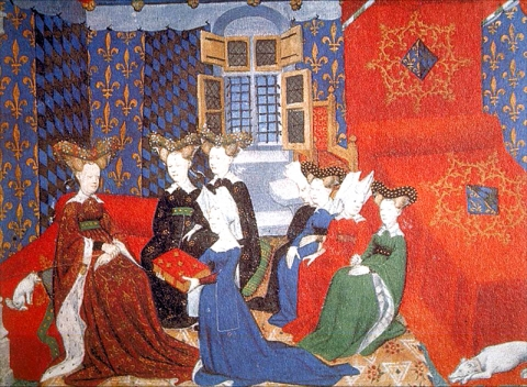 Fig. 26. Christine presenting her manuscript to Queen Isabeau who is surrounded by her ladies in waiting in front of her elegant large bed