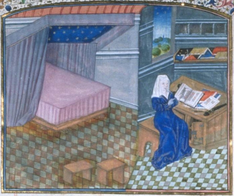 Fig. 29. Christine reading in her study with her bed visible in the alcove