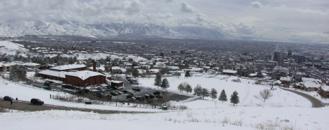 View from Capitol Hill towards the Salt Lake Valley and the Wasatch Mountains