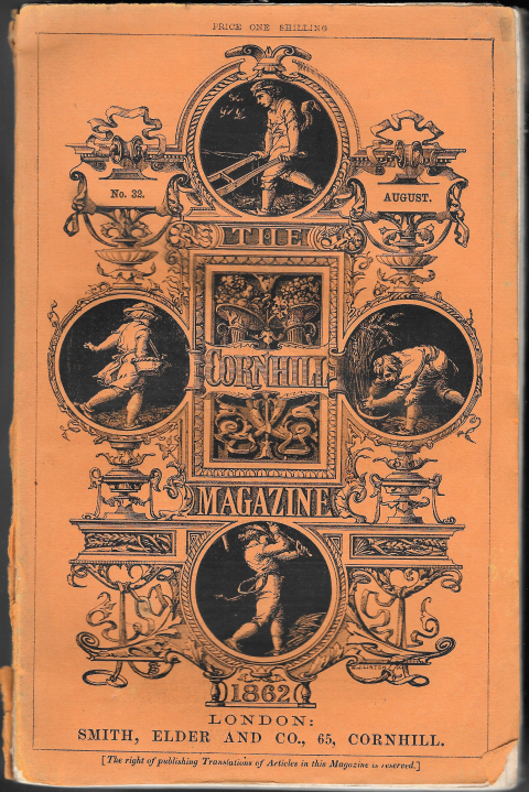 Fig. 1. Front cover for the Cornhill Magazine 32 (August 1862). Designed by Godfrey Sykes and engraved on wood by W. J. Linton. Orange paper, 235 x 150 mm.