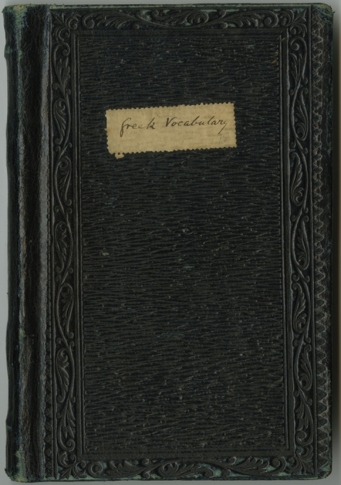 Fig. 1: Cover of George Eliot's Greek Vocabulary. Unpublished notebook, n.d. Courtesy of Special Collections, Mary Couts Burnett Library, Texas Christian University.