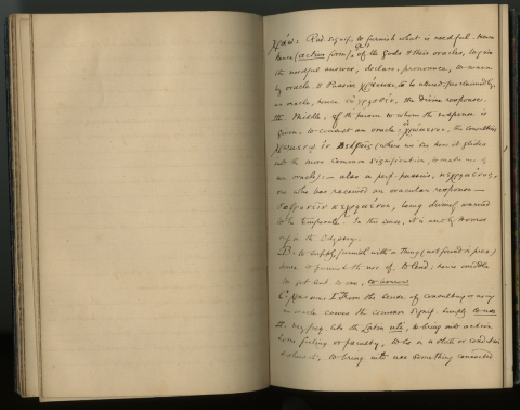Fig. 3: George Eliot's Greek Vocabulary (n. pag.). Unpublished notebook, n.d. Courtesy of Special Collections, Mary Couts Burnett Library, Texas Christian University.
