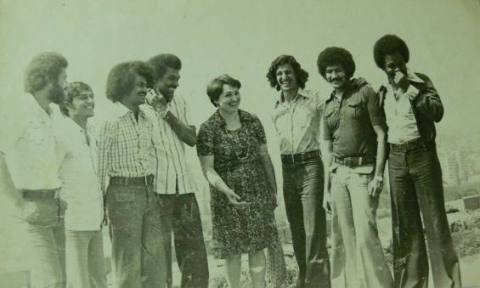 Yemeni students in Armenia, 1978 (dancers and painters) with teacher during a field trip