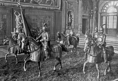 Photograph 21. Horse armours and riders, Ottoman, Indian and Japanese (Stibbert Collection displayed in Palazzo Vecchio, Florence 1938; James Mann photograph).