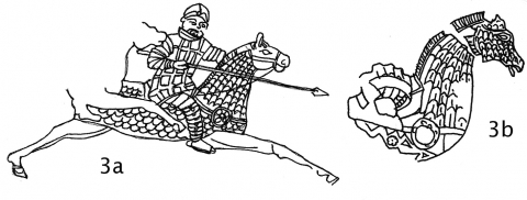 Fig. 3a‑b. Painted stucco panel from Reception Hall, Khaltchayan, Parthian 50 BC–AD 50: a ‑ reconstruction; b ‑ detail (after G.A. Pugachenkova, Skulptura Khaltchayana, Moscow 1971).