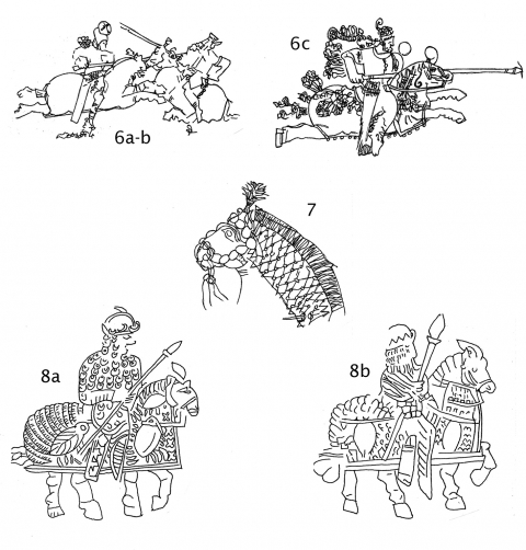 "Fig. 6a‑c. Carved rock relief of Bahram II's army in combat, Sassanian, AD 276–293 (in situ Naqsh‑i Rustam, Iran).Fig. 7. Graffito, Sassanian, 3rd–6th centuries AD, (in situ Harem area, Persepolis, Iran).Fig. 8a‑b. Seals of late Sassanian spahbeds; text of 8a reads, ""... Khusro, the son of Ādurmāhān .... K Khusro, the grandee of Iranians, at the quarter of the southeast, General"" (Barakat Gallery, London; after P.N. Skupniewicz, in Daryaee, T., & K. Safdari, ""Spāhbed Bullae: The Barakat Collection"", e‑Sasanika, 7, 2010)."