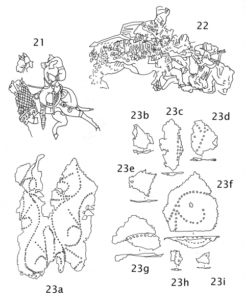 Fig. 21. Fragmentary wall painting, 5th century AD (in situ Ajanta cave temples, India).Fig. 22. Carved relief, Armenia, 7th–12th centuries AD (in situ Monastery Church of Surb Bartlolomeus, Turkey).Fig. 23a‑i. Fragments of an iron chamfron from Soba, Nubia 8th–14th centuries AD (National Museum, Khartoum, Sudan).