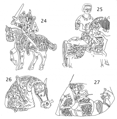 Fig. 24. Detail of a silver‑gilt plate found at Malo‑Amkovskaya near Perm, probably Sughdian, perhaps made in Semirechye, 9th–10th century AD (Hermitage Museum, St. Petersburg, Russia).Fig. 25. St. Ptolomeus of Nikentori on a horse with a caparison and apparent chamfron [shaded grey], Coptic Synaxary, Egypt, 9th–11th centuries AD (Pierpont Morgan Library, M.581, f.1v, New York).Fig. 26. Bronze perfume sprinkler, Khurasan 10th–11th centuries AD (Dar al‑Athar al‑Islamiyah, Kuwait).Fig. 27. Ceramic fragment from Sabra, Tunisia, Fatimid, 10th–11th centuries AD (Benaki Mus., inv. 11762, Athens).