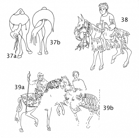 Fig. 37a‑b. Saddled horses from the rear, Maqāmāt of al‑Ḥarīrī, Iraq, AD 1237 (Bibliothèque Nationale, Ms. Arabe 5847, f.59, Paris).Fig. 38. Man riding a mule with an apparent sheepskin caparison or oversized saddle‑cloth, Maqāmāt of al‑Ḥarīrī, Iraq or Syria, early–mid‑13th century AD (Bibliothèque Nationale, Ms. Arabe 3929, f. 117, Paris).Fig. 39a‑b. Wall painting of Sts. Sergius & Bacchus, 13th century AD (in situ Martyrium, Church of the Monastery of St. Anthony in the Desert, Eastern Desert, Egypt).