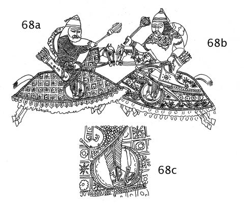 Fig. 68a‑c. Shāhnāmah, second half of the 15th century AD, north Indian Sultanate style (Berlin, Museum für Indische Kunst, ms. 15968, f.89v, Berlin).