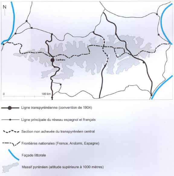 143c1bd72d6 Carte 1   Situation géographique de la gare de Canfranc (incluant le réseau  transpyrénéen)