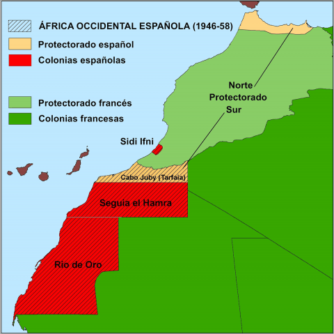 Figura 1: África Occidental Española en el contexto colonial hispano francés (elaboración propia)