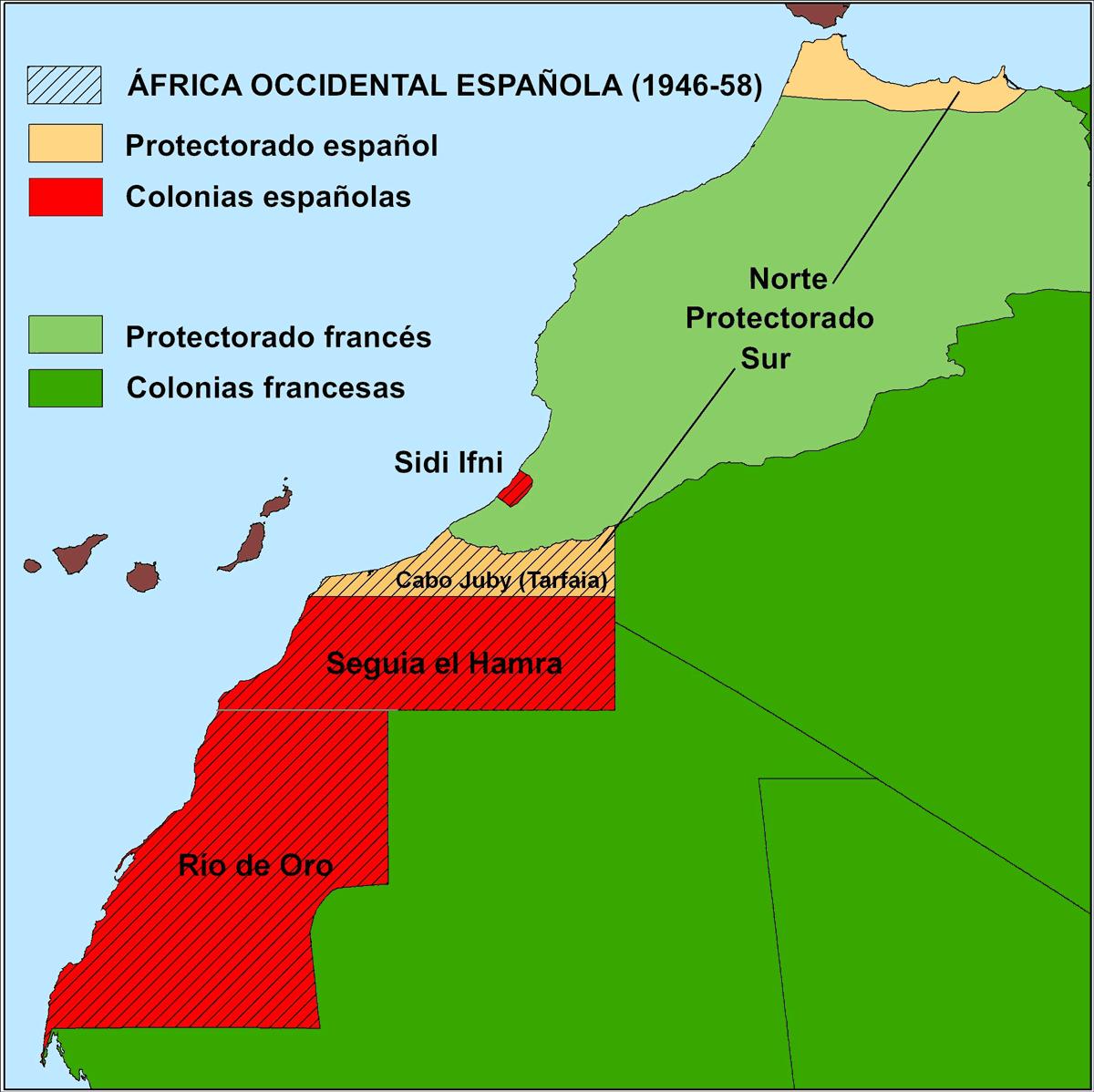 Relieve De Africa Mapa.El Mapa Del Africa Occidental Espanola De 1949 A Escala 1