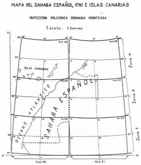 Figura 4: Croquis inicial con la repartición de las hojas y los efectos de la proyección y su modificación en mapa del África Occidental Española 1:500.000 (Lombardero, 1945)
