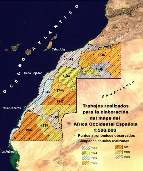 Figura 5: Campañas realizadas para la realización del mapa (elaboración propia con los datos aportados por Lombardero 1946; 1949 y AGA 1945a; 1945b ; 1947a ; 1947b)
