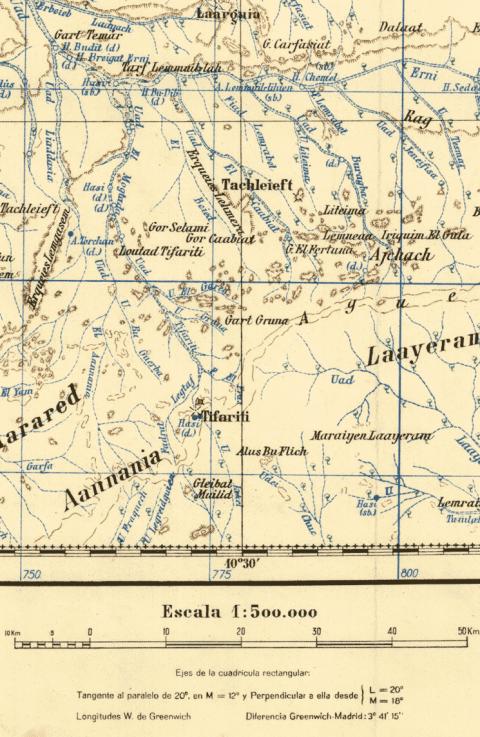 """Figura 7: Detalle de una de las hojas mostrando la """"coquización"""" de los accidentes geográficos y los toponímicos recogidos"""