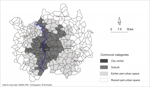 Figure 1. Definition of study zones in the different urban areas: the example of Lyon.