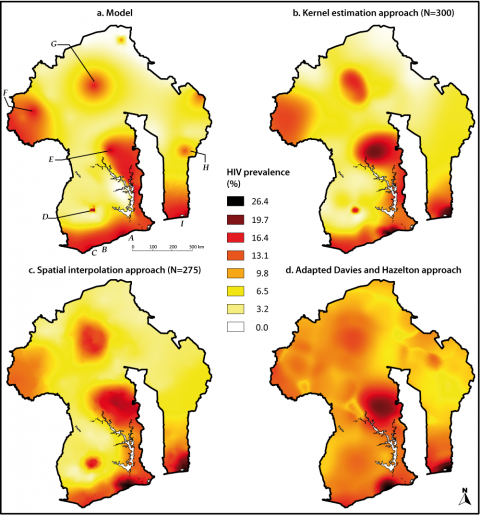 Figure 6: Model prevalence surface and estimated prevalence surfaces using three different approaches based on the same DHS simulation.