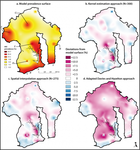 Methods for mapping regional trends of HIV prevalence from
