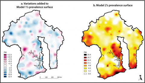 Figure 10: Random variations added to Model 1 and prevalence surface of Model 2