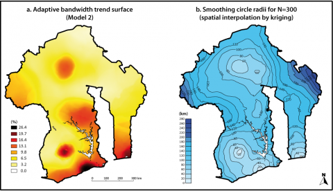 Figure 13: Trend surface using adaptive bandwidths and spatial interpolation of the smoothing circle radii (N=300)