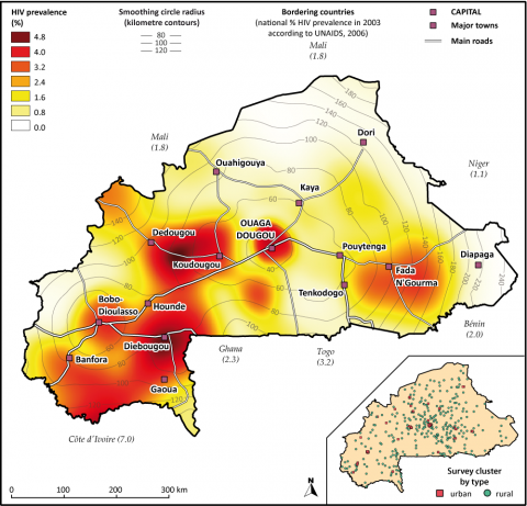 Figure 15: Regional HIV prevalence (age 15-49) estimated by kernel estimator approach (N=500) applied to the Burkina Faso 2003 DHS