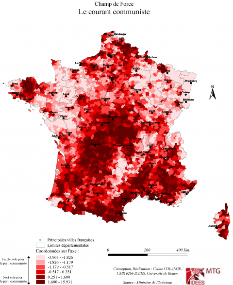Carte 1 : Champ de Force du Parti Communiste entre 1995 et 2012
