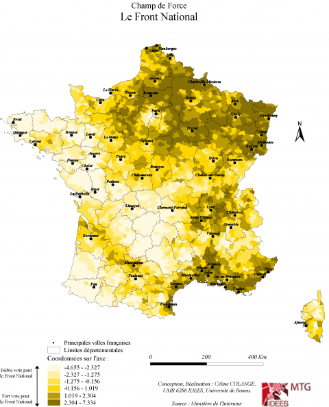 Carte 5 : Champ de force du Front National entre 1995 et 2012