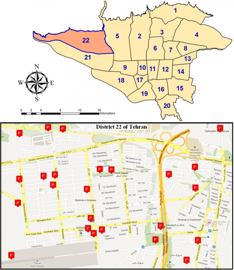 Figure 3: The candidate sites for parking in District 22 of Tehran, Iran