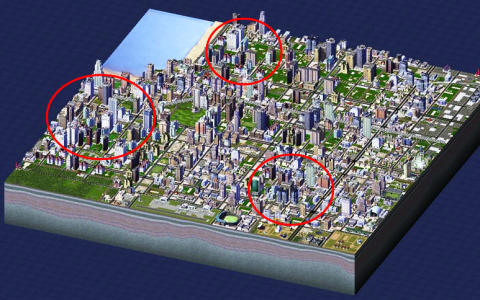 Fig. 8: Polycentric space in SimCity 4 (2003)