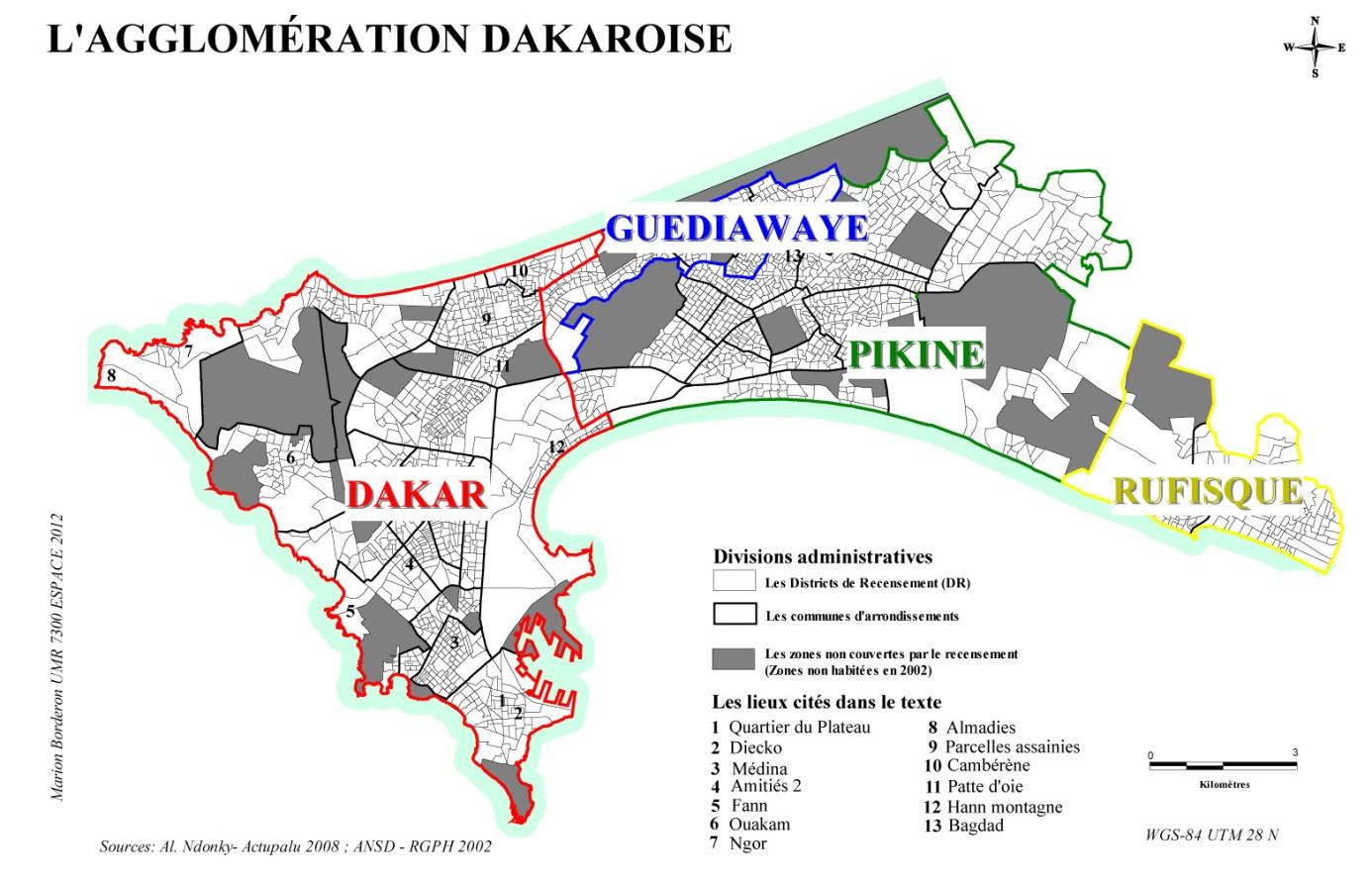 Qualifier Les Espaces Urbains à Dakar Sénégal - Pikine map