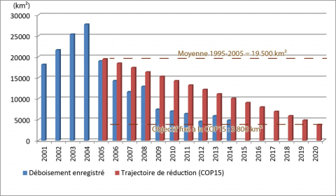 Figure 8: The reduction of deforestation since 2001 and the COP15 Brazilian pledge