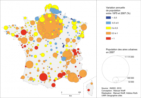 Figure 1: Annual population variation of urban areas between 1975 and 2007