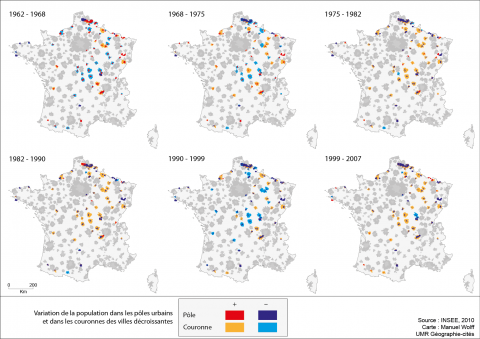 Figure 5: Population variation in centers and peripheries of declining urban areas, between 1962 and 2007